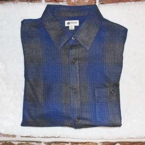 Haggar LS Casual Button Up Plaid Shirt XL EUC